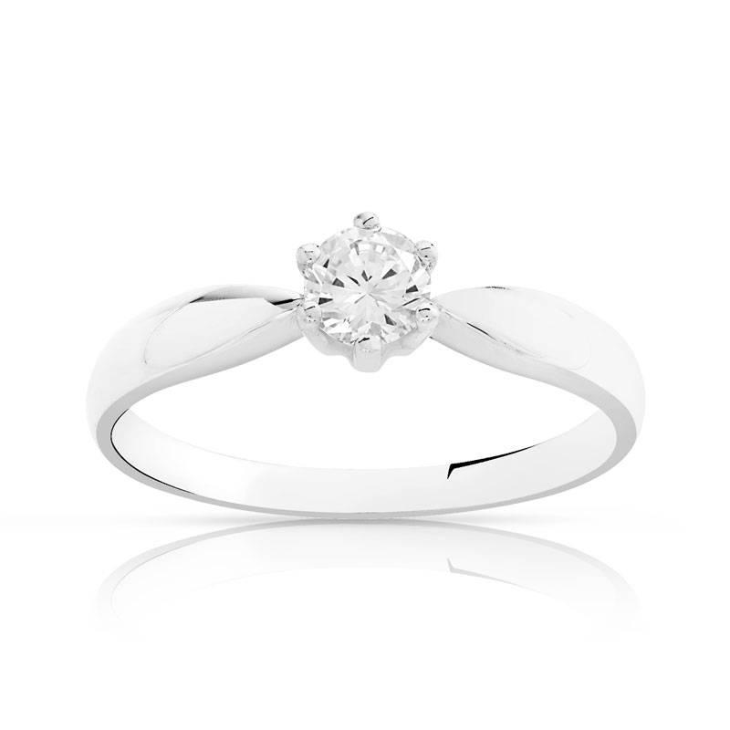 MATY Solitaire or 750 blanc diamant 0,3 carat- MATY