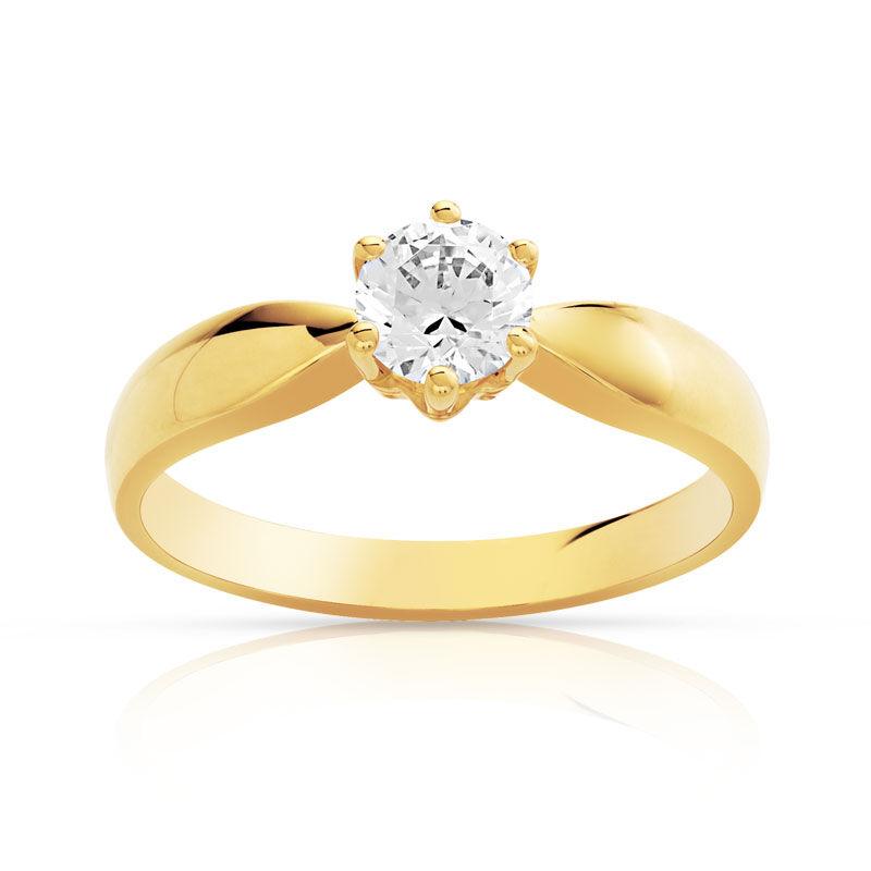 MATY Bague solitaire or 750 jaune diamant 50/100e de carat- MATY