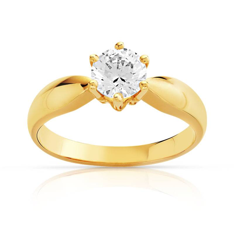 MATY Bague solitaire or 750 jaune diamant 70/100e de carat- MATY