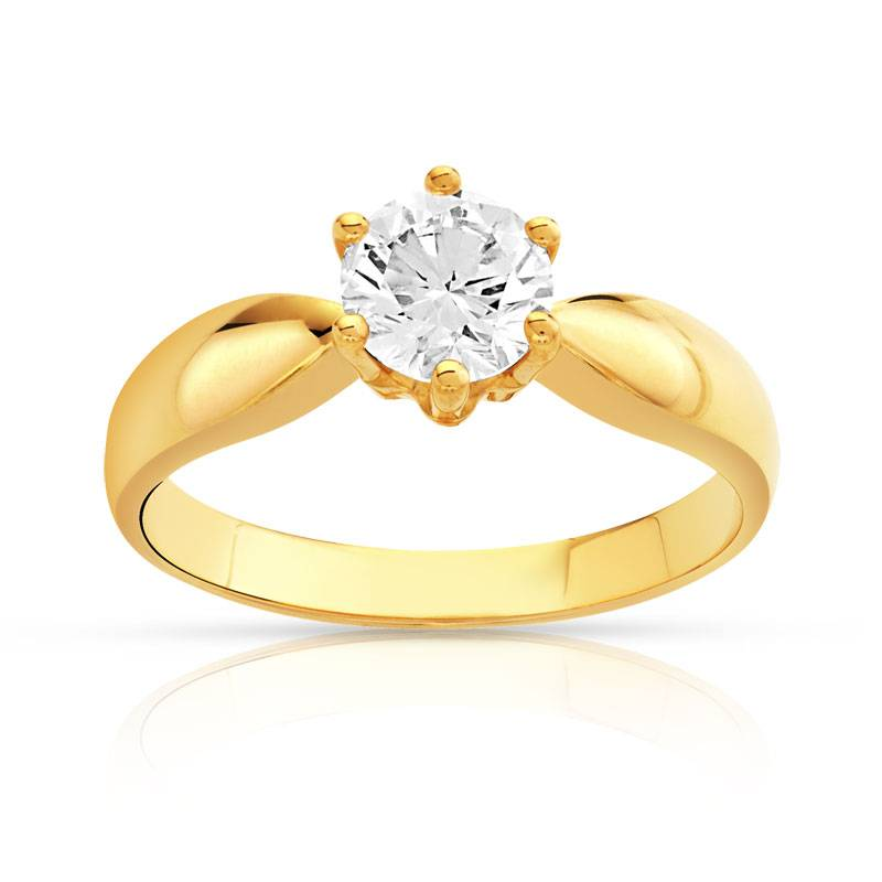 MATY Bague solitaire or 750 jaune diamant 80/100e de carat- MATY