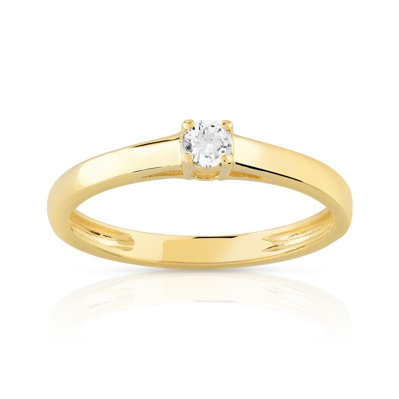 MATY Bague solitaire or 750 jaune diamant 10/100e de carat- MATY