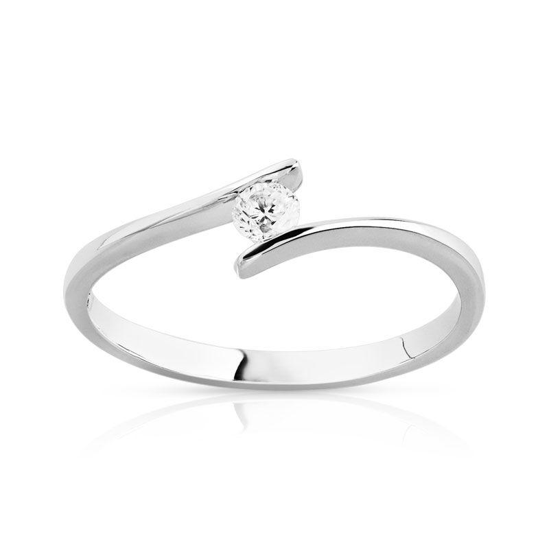MATY Solitaire or 750 blanc monture décalée diamant 0,1 carat- MATY