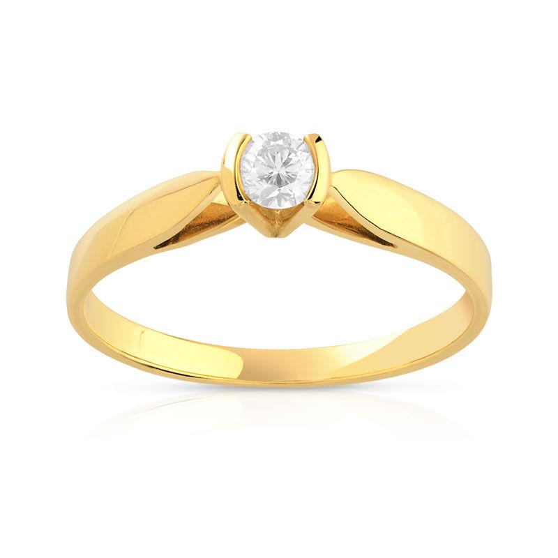 MATY Bague solitaire or 750 jaune diamant 15/100e de carat- MATY