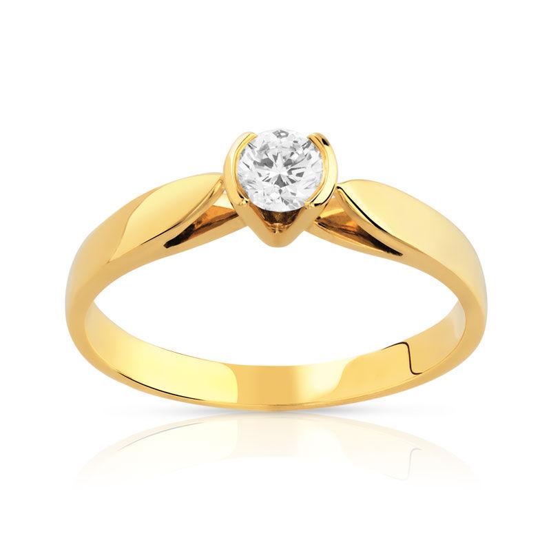 MATY Bague solitaire or 750 jaune diamant 20/100e de carat- MATY