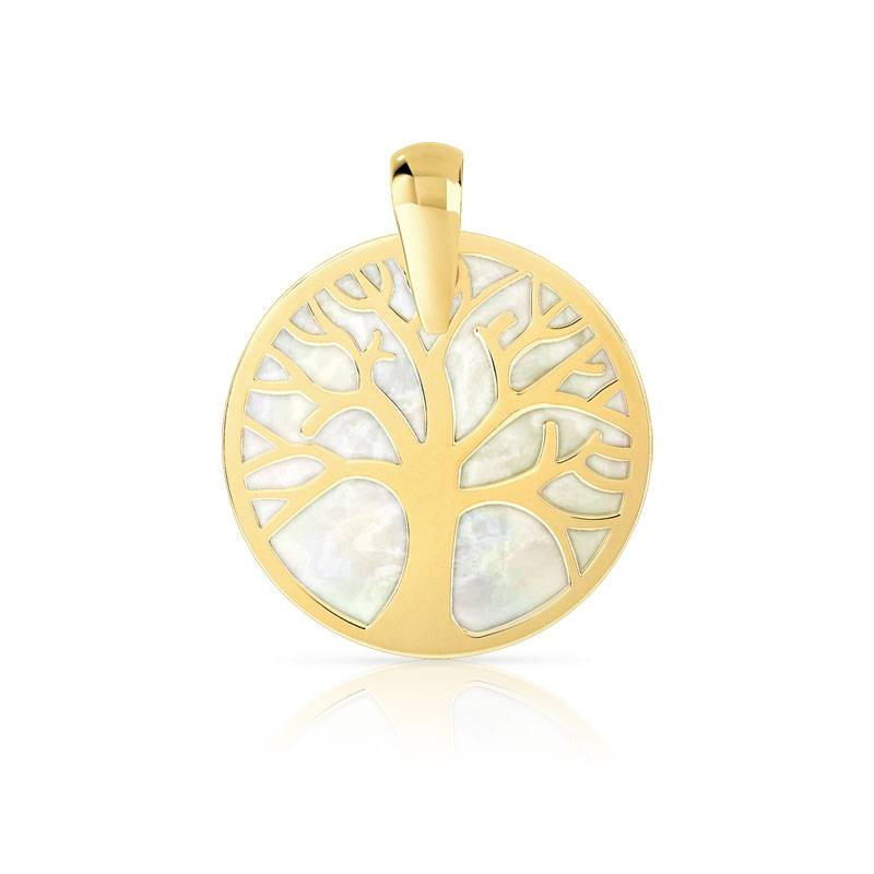 MATY Pendentif or 375 jaune arbre de vie et nacre -