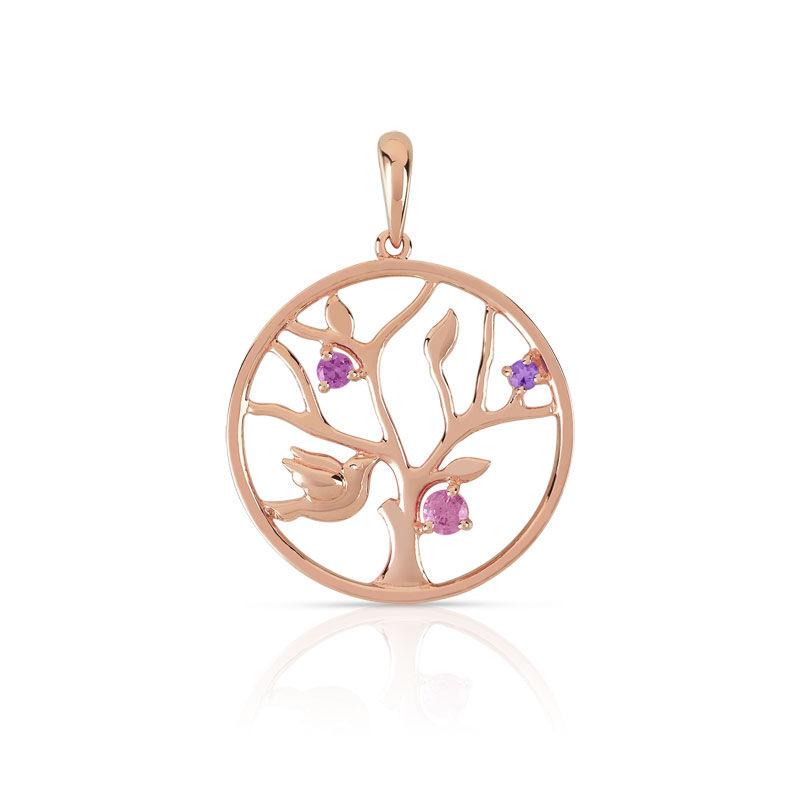 MATY Pendentif or 375 rose arbre de vie pierres fines -