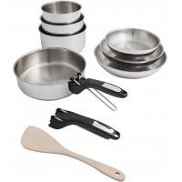SITRAM Set poêles et casseroles SITRAM Batterie 10pcs Inox 3 casseroles 3 poêles 1 wok