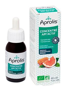 """Eyeslipsface """"Concentré Api'Actif Bio : extrait de pamplemousse, propolis, miel de manuka- 60ml - APROLIS (0000) 60"""""""