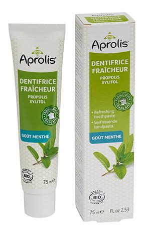 "Eyeslipsface ""Dentifrice Fraicheur gout menthe : propolis, xylitol Bio- 75ml APROLIS (0000) 75"""