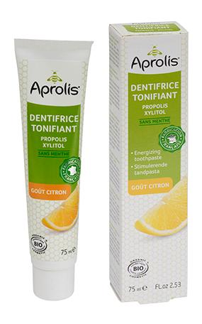 "Eyeslipsface ""Dentifrice Tonifiant gout citron : propolis, xylitol Bio- 75ml - APROLIS (0000) 75"""