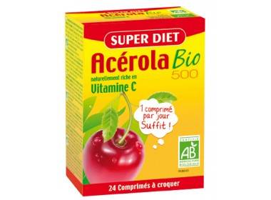 "Eyeslipsface ""Acérola Bio 500 Vitamine C - 24 comprimés - SUPER DIET (0000) 24"""