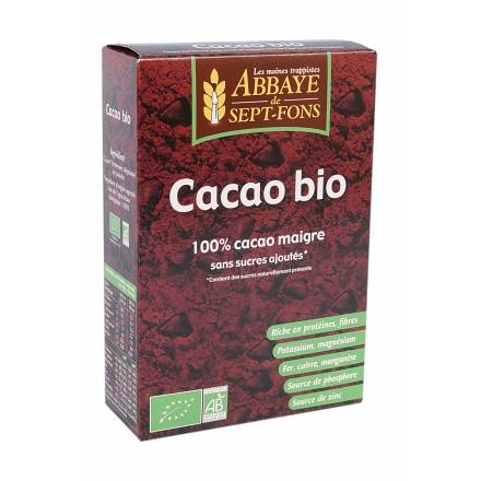 """Eyeslipsface """"Cacao Bio (100% pur sans sucre ajouté)- 200g - ABBAYE DE 7 FONDS (04220017) 200"""""""