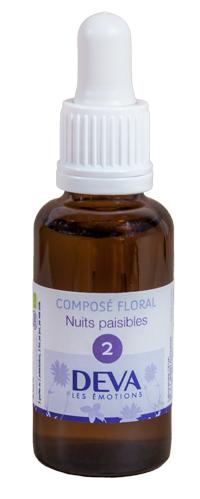 """Eyeslipsface """"Fleurs de Bach - Nuits paisibles (Sève d'érable) - Composé floral no 2 - 30 ml - DEVA (12.8104) 30"""""""