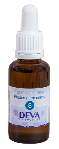 """Eyeslipsface """"Fleurs de Bach - Etudes et Examens (Sève d'érable) - Composé floral n° 8 - 30 ml -DEVA (12.8104) 30"""""""