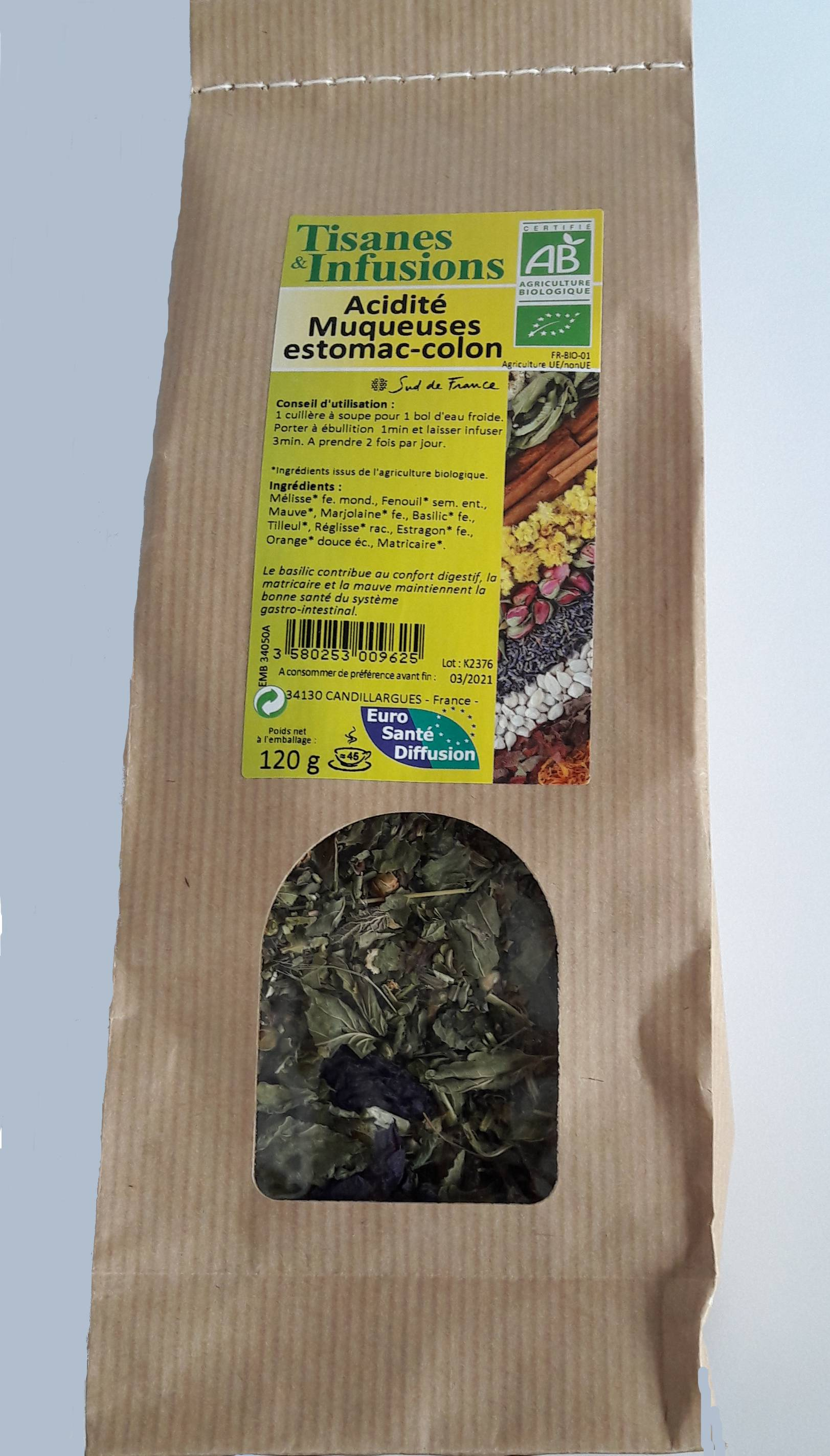 """Eyeslipsface """"Tisanes & Infusions Acidité Muqueuses Estomac-Colon - ESD / PHYTOFRANCE (0000) 110"""""""