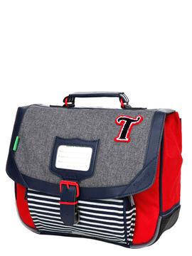 Tann's Cartable Tann's Les Chinés Teddy 32 cm Gris/Rouge