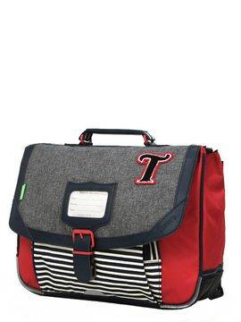 Tann's Cartable Tann's Les Chinés Teddy 35 cm Gris/Rouge
