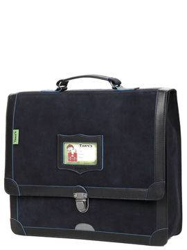 Tann's Cartable Tann's Bords Francs 35 cm en cuir Bleu Marine/Bleu Electrique