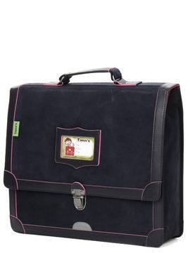 Tann's Cartable Tann's Bords Francs 35 cm en cuir Bleu Marine/Rose Fluo