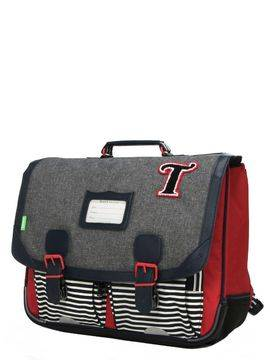 Tann's Cartable Tann's Les Chinés Teddy 41 cm Gris/Rouge
