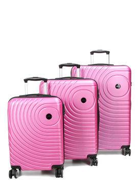 Madisson Ensemble 3 valises rigides pas cher Madisson Padoue Rose Solde
