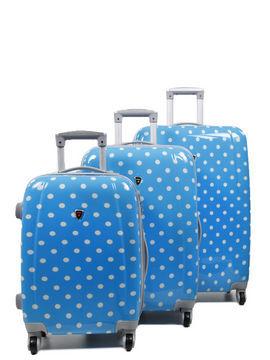Madisson Ensemble 3 valises rigides à pois Madisson Lille 55, 65, 75 cm Bleu Solde