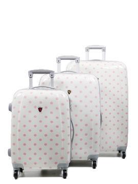 Madisson Ensemble 3 valises rigides à pois Madisson Lille 55, 65, 75 cm Blanc Solde