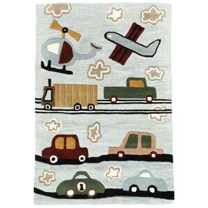 RugVista Tapis Enfant Cars Handtufted 120X180 Laine Bleu Clair/Gris Clair