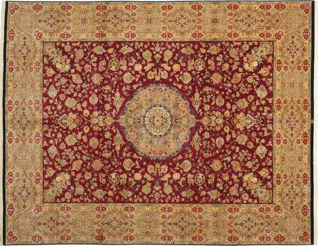 RugVista 304X411 Tapis Tabriz 50 Raj Avec De La Soie D'orient Fait Main Marron Clair/Rouge Foncé Grand (Laine/Soie, Perse/Iran)