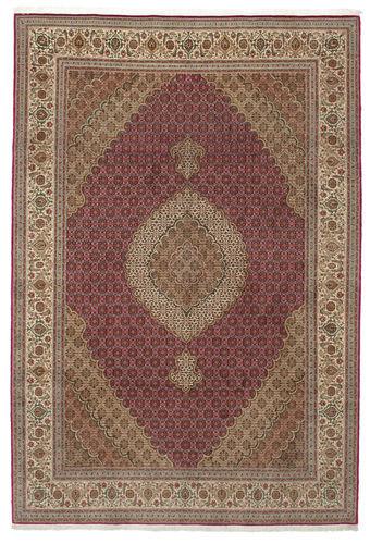 Noué à la main. Origine: Persia / Iran 200X308 Tapis D'orient Tabriz 50 Raj Avec De La Soie Marron Clair/Rouge Foncé/Gris Clair (Laine/Soie, Perse/Iran)