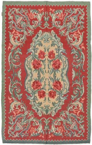 Noué à la main. Origine: Moldova 154X242 Tapis D'orient Kilim Rose Moldavia Rouille/Rouge/Vert Olive (Laine, Moldavie)