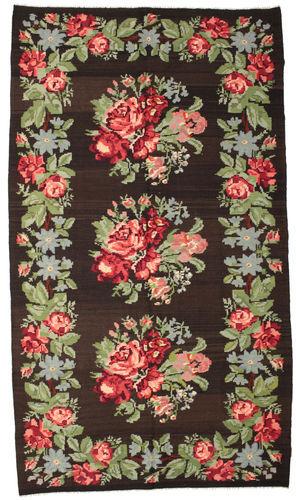 Noué à la main. Origine: Moldova 194X340 Tapis D'orient Kilim Rose Moldavia Marron Foncé/Vert Clair (Laine, Moldavie)