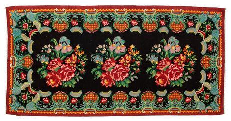 Noué à la main. Origine: Moldova Tapis D'orient Kilim Rose Moldavia 165X324 Noir/Rouge Foncé (Laine, Moldavie)