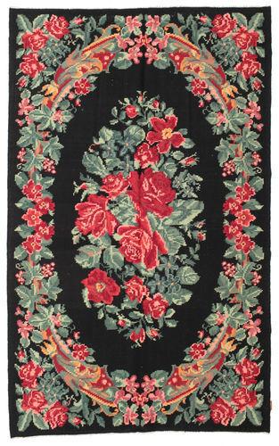 Noué à la main. Origine: Moldova Tapis D'orient Kilim Rose Moldavia 180X290 Noir/Gris Foncé (Laine, Moldavie)
