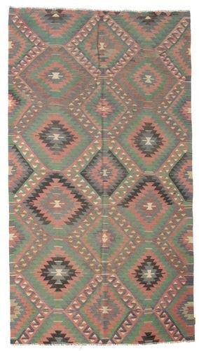 Noué à la main. Origine: Turkey 173X312 Tapis Kilim Semi-Antique Turquie D'orient Tissé À La Main Gris Foncé/Rose (Laine, Turquie)