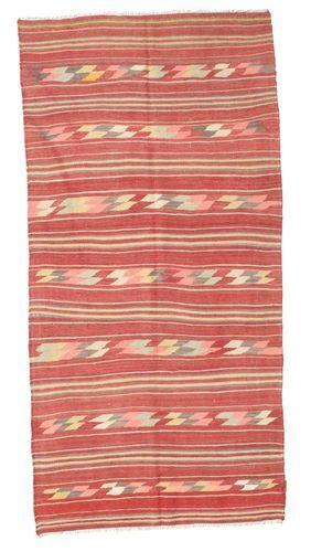 Noué à la main. Origine: Turkey Tapis Kilim Semi-Antique Turquie 134X274 Rouge Foncé/Rouille/Rouge/Rose Clair (Laine, Turquie)