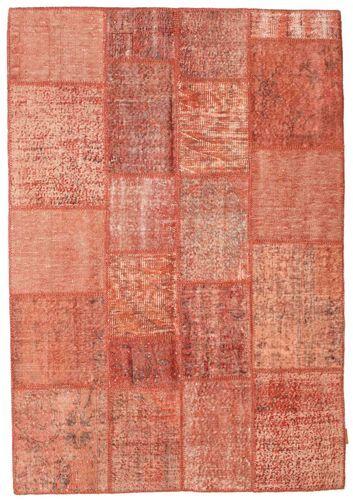 Noué à la main. Origine: Turkey 140X201 Tapis Patchwork Moderne Fait Main Rose Clair/Rouge (Laine, Turquie)