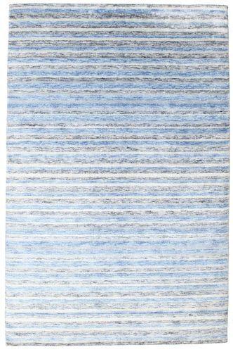 Noué à la main. Origine: India 200X304 Tapis Bambou Soie Handloom Moderne Fait Main Bleu Clair/Beige (Inde)