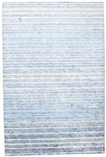 Noué à la main. Origine: India Tapis Fait Main Bambou Soie Handloom 202X304 Beige/Bleu Clair ( Inde)
