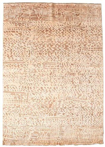 Noué à la main. Origine: India Tapis Fait Main Damask 176X244 Beige/Rose Clair ( Inde)