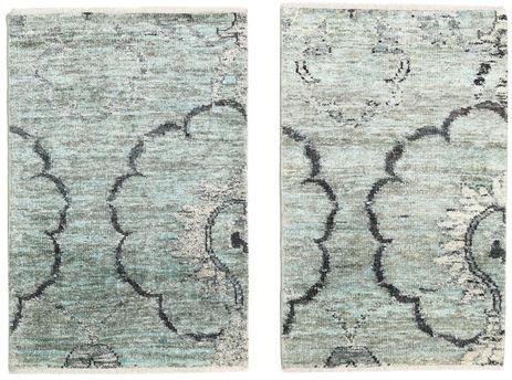 Noué à la main. Origine: India Tapis Fait Main Himalaya Bambou Soie 60X90 Gris Clair/Gris Foncé/Beige ( Inde)