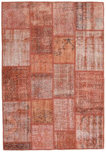 Noué à la main. Origine: Turkey 137X201 Tapis Patchwork Moderne Fait Main Rouge Foncé/Rose Clair (Laine, Turquie)