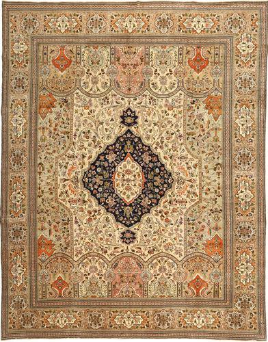 Noué à la main. Origine: Persia / Iran 295X390 Tapis Tabriz Patina Tabatabi D'orient Fait Main Marron Clair/Beige Foncé Grand (Laine, Perse/Iran)