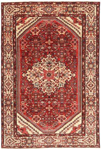 Noué à la main. Origine: Persia / Iran 205X312 Tapis D'orient Hamadan Patina Rouge Foncé/Rose Clair (Laine, Perse/Iran)