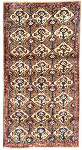 Noué à la main. Origine: Persia / Iran Tapis Koliai 100X187 Marron/Rouge Foncé/Beige (Laine, Perse/Iran)