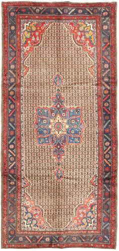 Noué à la main. Origine: Persia / Iran Tapis Fait Main Koliai 158X335 Tapis Couloir Rouge Foncé/Marron Clair (Laine, Perse/Iran)