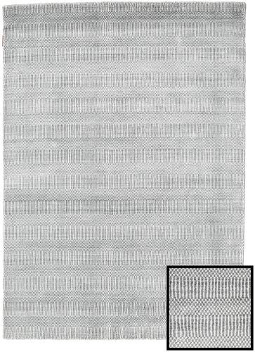 Noué à la main. Origine: Turkey 140X200 Tapis Bambou Grass - Gris Moderne Gris Clair/Blanc/Crème (Laine/Soie De Bambou,turquie)