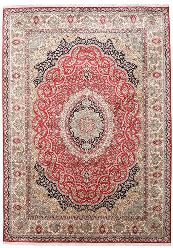 Noué à la main. Origine: India 221X311 Tapis Cachemire Pure Soie D'orient Fait Main Gris Clair/Rose Clair (Soie, Inde)