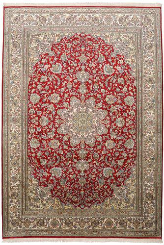 Noué à la main. Origine: India 172X248 Tapis Cachemire Pure Soie D'orient Fait Main Gris Clair/Rouge Foncé (Soie, Inde)