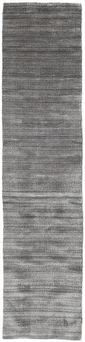 Noué à la main. Origine: India Tapis Bambou Grass - Black_ Gris 80X340 Tapis Couloir Gris Clair/Gris Foncé (Laine/Soie De Bambou, Inde)